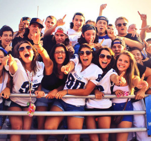 Student sections support sports teams