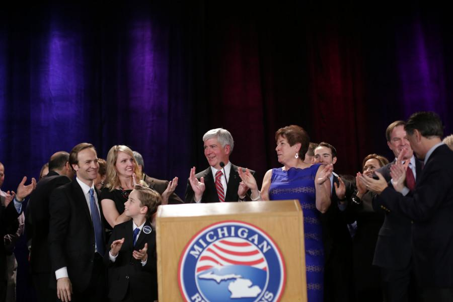 Gov.+Rick+Snyder+stands+on+stage+with+other+Republican+candidates+and+their+families+after+giving+his+victory+speech.+Snyder+was+elected+for+a+second+term+after+defeating+Mark+Schauer%2C+Democrat.