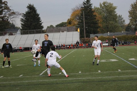 Mens varsity soccer wins first district game