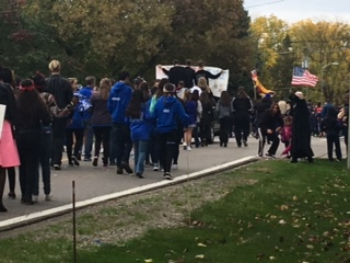 Even the Malow Junior High Student Council joined in on marching in the parade.