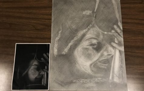 """Junior art student Tiffany Myers's project for """"Trapped""""."""