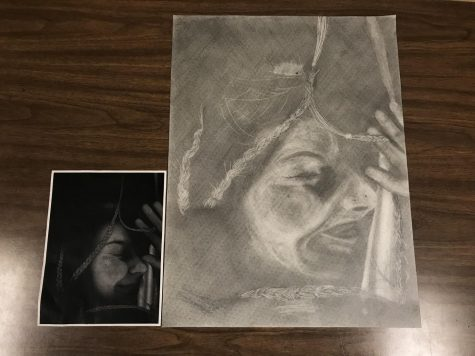 "Junior art student Tiffany Myers's project for ""Trapped""."