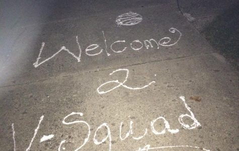 The signature phrase left behind on each driveway of the newbies on Varsity.