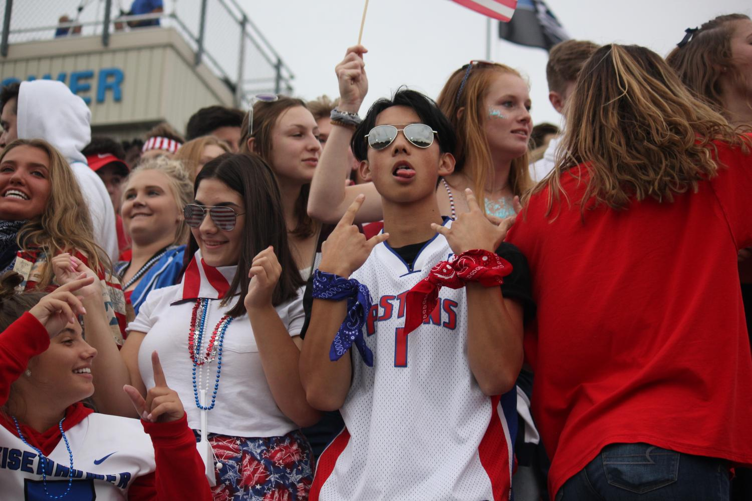 The student section at the Chippewa game shows their game day spirit.