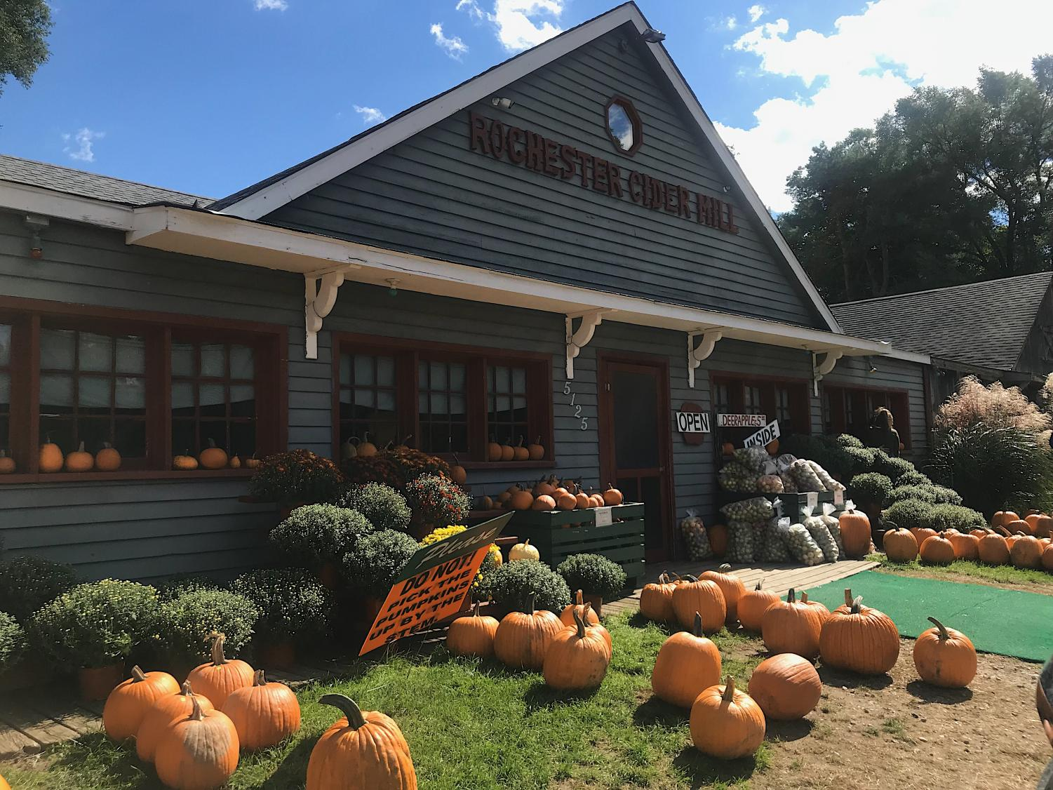 Rochester Cider Mill on Rochester Rd, Rochester. Rochester Cider Mill is decorated with pumpkins and is ready for fall.