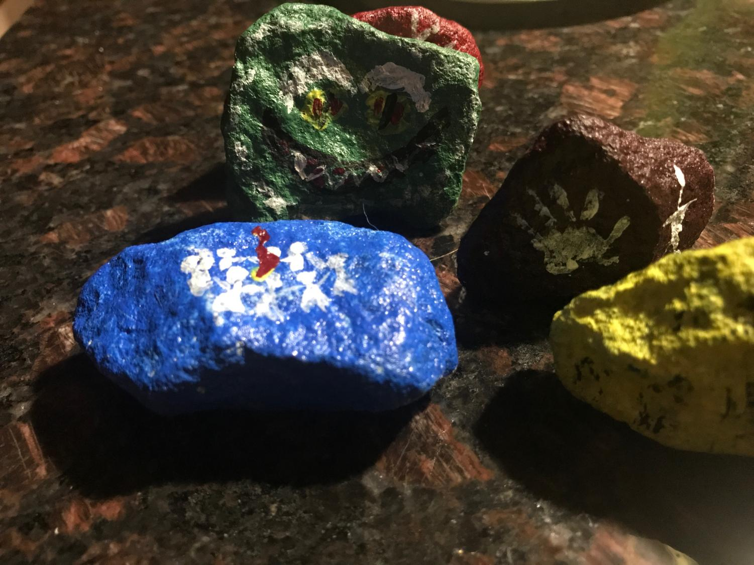 The glowing rock monster path makes  for outdoor Halloween decorations.