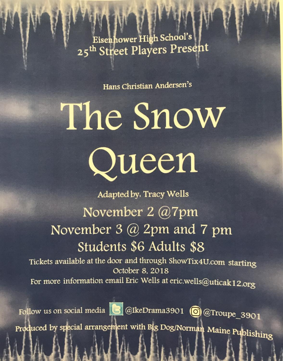 "The annual fall play this year will be The Snow Queen. ""I'm really excited to see the audience reaction,"" senior lead actress Sarah Agrusa said."