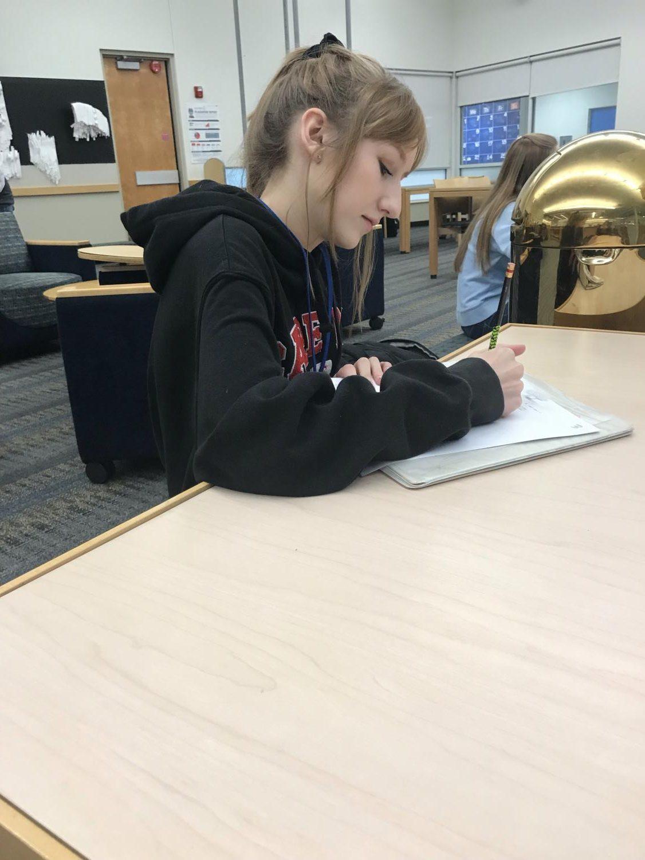 Rachel Austin studying for her Calculus exam.