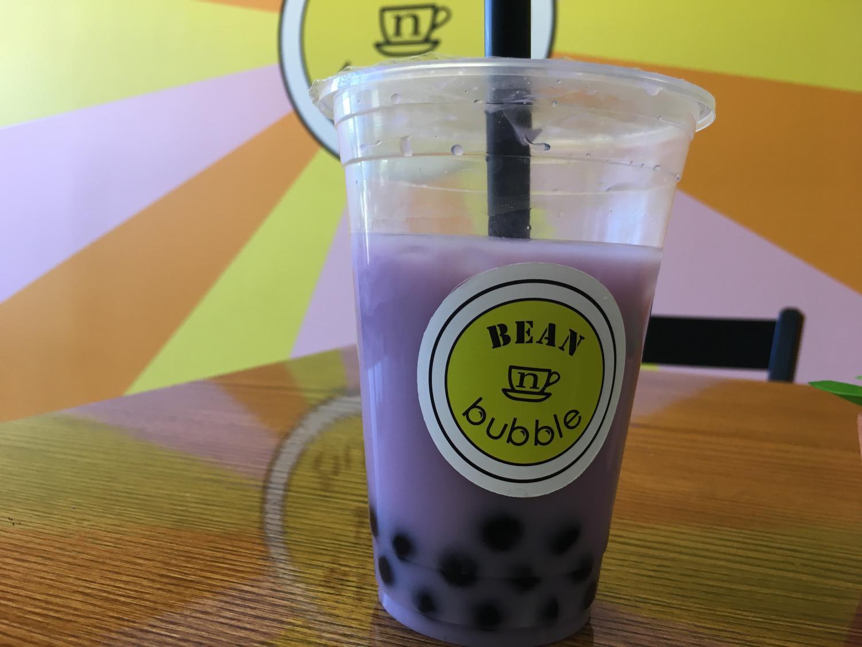 Taro bubble tea presented at Bean n Bubble cafe.