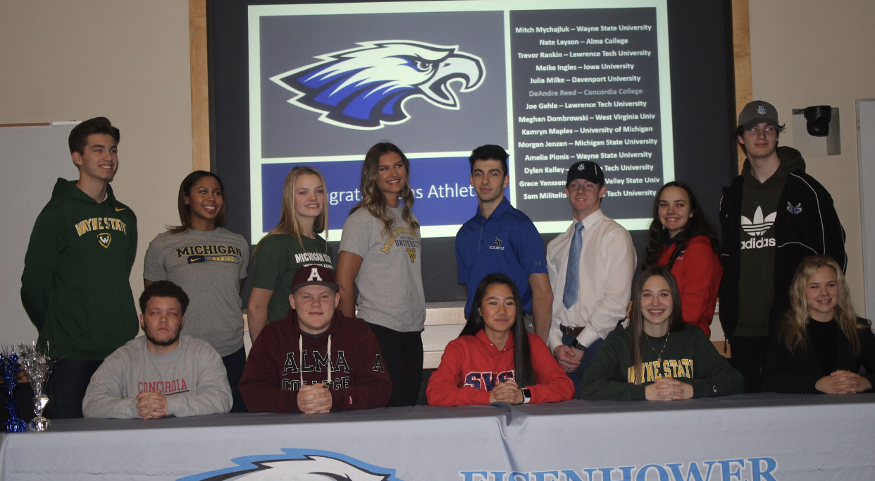 Students Athletes celebrate their skill and sign to college at the signing celebration Dec. 18.