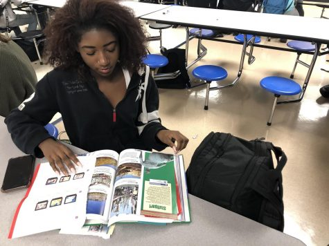 "Looking through a book, sophomore Anya Jones studies for school. ""[The school needs a higher budget] because this book is falling apart and multiple other books I've had in the past have also fallen apart or had stuff written in them,"" she said. The millage vote could increase school funding across Macomb county."