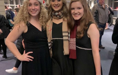 """After finishing their choir concert, junior Isabella Cole stands with her friends junior Jamie Greenwood and sophomore Hailey Nichols.  """"She was very nice and she was always so outgoing. I'm pretty sure that's why we became friends,"""" Jamie Greenwood said. Cole continued to be an active member of the choir with her friends."""
