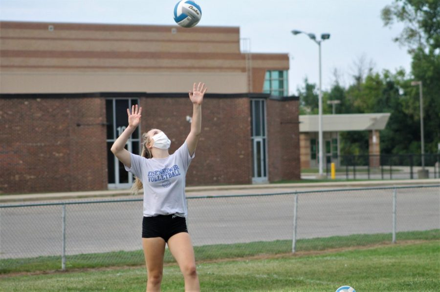 Reese+Binando+spikes+the+volleyball+at+tryouts+in+August.+MHSAA+decided+that+volleyball+is+one+of+the+sports+able+to+have+a+season+this+fall.
