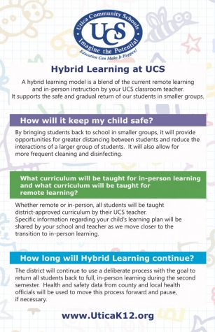"UCS releases the Hybrid Learning fact sheet, answering frequently asked questions for students and parents. ""Together, we are ready to take the next step of transitioning to in-person learning,"" Interim Superintendent Robert Monroe said in a letter to the community. The hybrid learning system will begin the week of Nov. 9 for high school students."