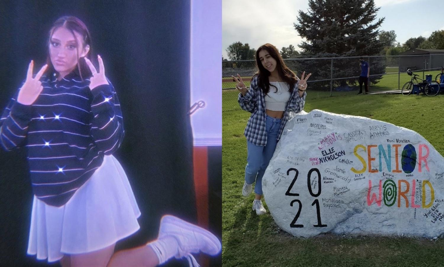 "Left: Taking a picture for Instagram, senior Jaden Potance shows off a thrifted long-sleeve polo and tennis skirt. ""I thrift because it's cheap and instead of spending a lot of money on buying new clothes and putting these clothes to waste, you can just upcycle the old clothes,"" Potance said. On Instagram, her followers had no clue that she bought her styles secondhand.  Right: Wearing a thrifted flannel, senior Shealee King signs the senior rock. ""I like thrifting because it's an easy way to get clothes that match my style without having to spend a lot of money. It's also a great alternative to fast fashion, as it's sustainable,"" King said. As a retail worker, King appreciates the option of a lower priced, eco-friendly clothing source."