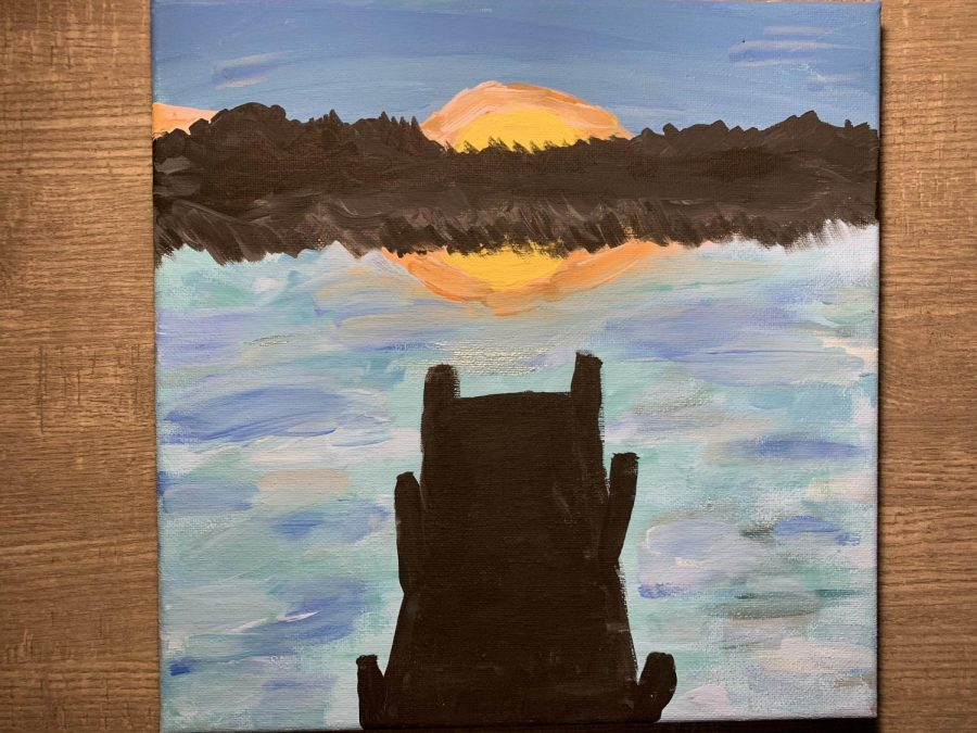 "In her free time, junior Lauren Devereux likes to paint on a canvas. ""I like painting because it relaxes you and allows time away from a screen,"" Devereux said. The painting, painted last year, took about two hours from start to finish."