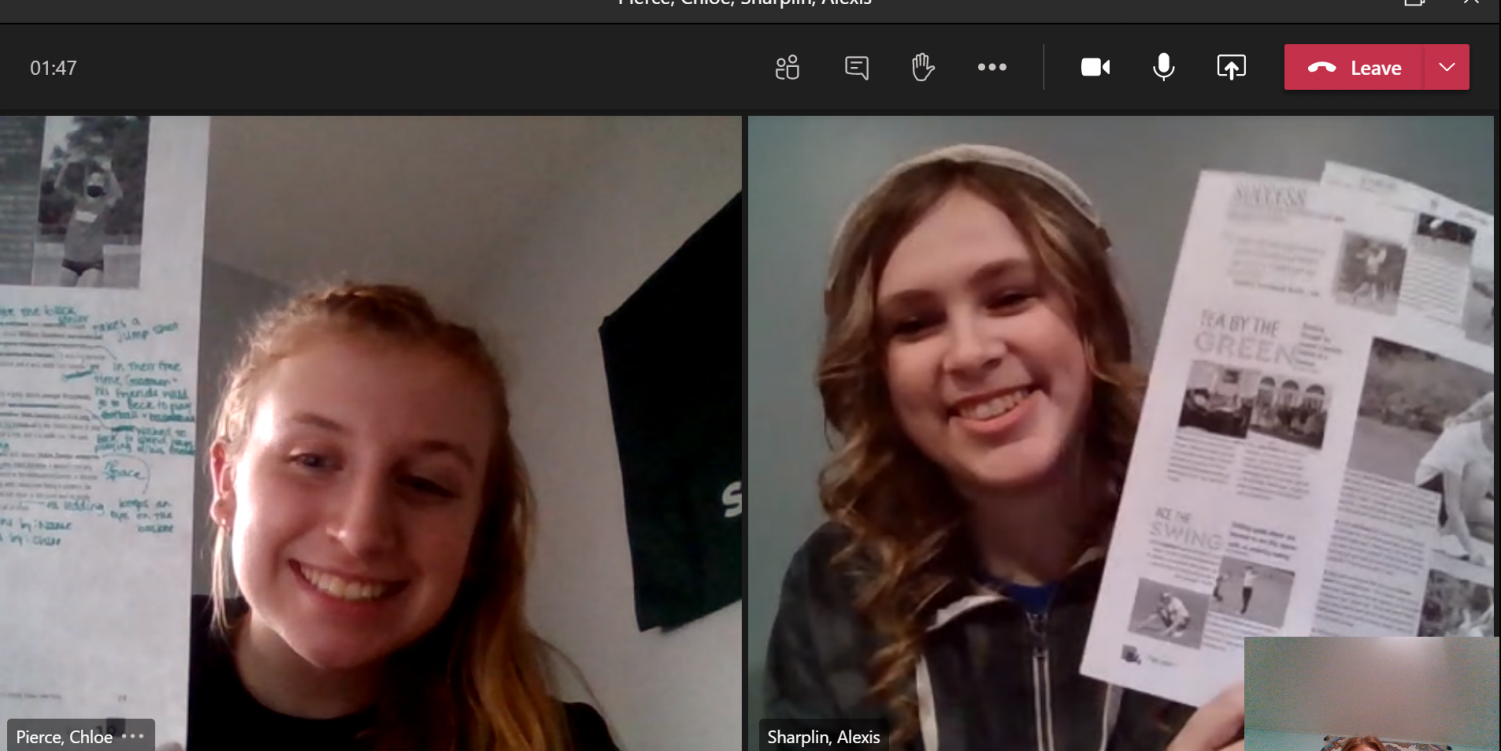 """On a Microsoft Teams call, seniors Chloe Pierce and Alexis Sharplin work on papers for the yearbook. They've created the entire yearbook in a fully virtual environment. """"It's a lot less stressful in my opinion,"""" Sharplin said, """"because we have more time to work on it."""""""