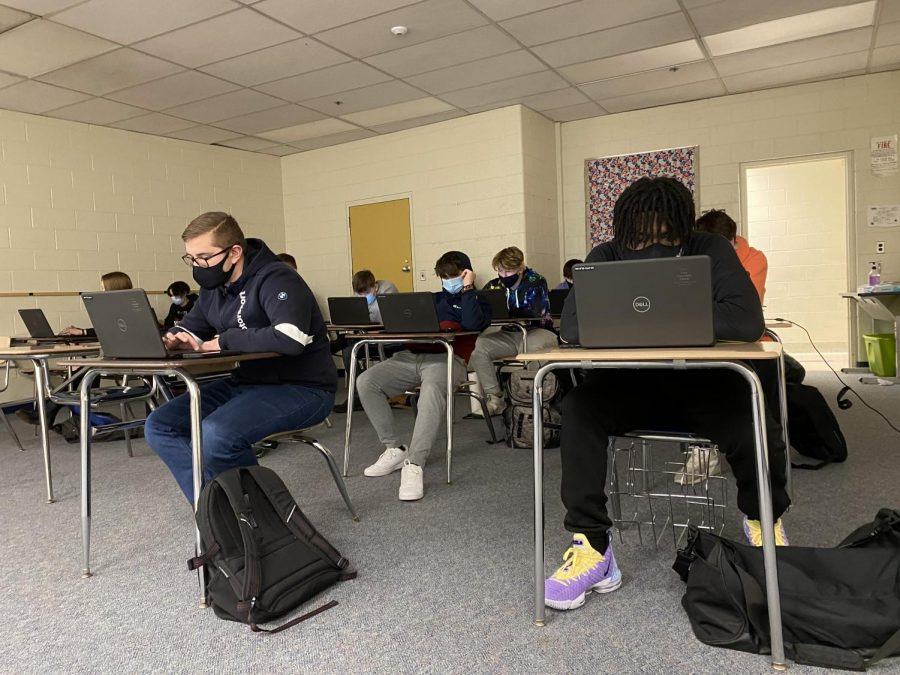 While in-person or virtual for school, most spend time on their phones and computers to complete school work, as well as pass the time by scrolling through social media.