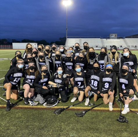 """The girls lacrosse team holds a fundraiser by selling shirts to raise money for the team. """"The fundraiser not only makes money but also allows our friends and classmates to show support to the team and show school spirit,"""" junior Michalena Hamrick said. Students can get a shirt until May 20."""