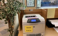 """Majority of the papers printed by students go to this printer. """"I think for some people it is easier to remember stuff when you physically write it down,"""" sophomore Grace Shutter said. Most of the papers were thrown out shortly after being printed."""
